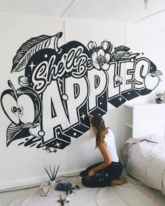 It's the final month to see my hand-painted mural at the before it's gone forever! Run by fellow design globe-trotter… Mural Wall Art, Mural Painting, Painted Letters, Painted Signs, Hand Painted, Typography Inspiration, Design Inspiration, Office Mural, Signwriting