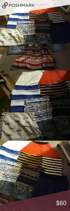 "12 skirts Name brands  BUNDLE 4lbs All colored skirts and white Nike skirt measurements are Waists are 24- 28""  but all have elastic waist bands except Jeans and white sequins skirt. Lengths range from 11-15"".  All in excellent condition Some names are Hollister, Nike, Miss me, Charlotte Russe, Forever 21.  Under 4lbs for all. Hollister Skirts Mini"