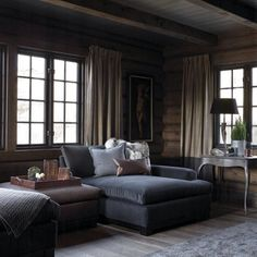 Ideas for Decorating a Family Room with Rustic Cabin Style House Design, Mountain Interiors, Gray Velvet Couch, Interior, Home, House Interior, Cabin Living, Interior Design, Rustic House