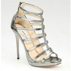 Jimmy Choo Strappy Mirrored Leather Sandals Silver,High Heels Platform Shoes