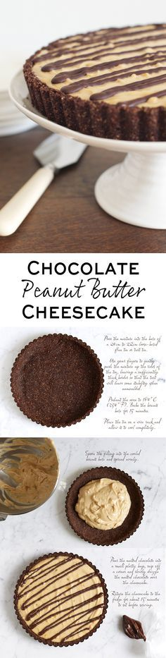 Step-by-step photo guide to making a No-Bake Chocolate & Peanut Butter Cheesecake