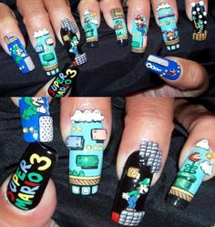 Super Mario finger nails