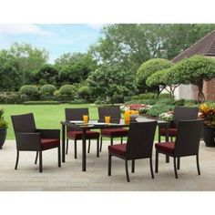 Outdoor space makeover  Rush Valley 7-Piece Wicker Patio Dining Set with Cushions, Seats 6 -- This is an Amazon Associate's Pin. Details on product can be viewed on Amazon website by clicking the VISIT button.