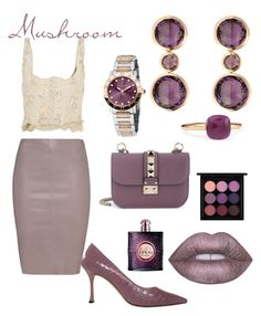 """Mushroom Look"" by rea-godo ❤ liked on Polyvore featuring Jitrois, Alexander McQueen, Manolo Blahnik, Valentino, RenéSim, Pomellato, Bulgari, Lime Crime, Yves Saint Laurent and MAC Cosmetics"