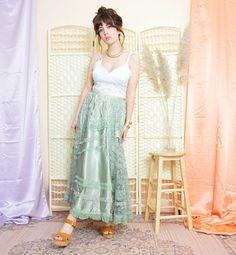 BohoKimono - Sustainable Clothing, Boho Clothing | BohoKimono Fringe Kimono, Boho Kimono, Kimono Fashion, Maxi Skirt Boho, Lace Maxi, Green Maxi, Sustainable Clothing, Vintage Bohemian