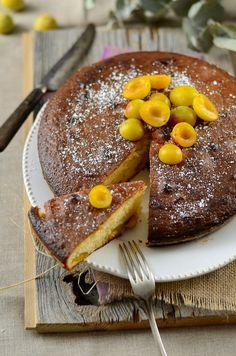 Gâteau au yaourt aux prunes mirabelles {recette facile et végétarienne}