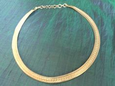 Authentic Christian Dior Gold Tone Slinky NecklaceTextured Flat Chain Choker - http://designerjewelrygalleria.com/christian-dior/authentic-christian-dior-gold-tone-slinky-necklacetextured-flat-chain-choker/