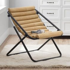 Pull up a chair—the chicest chair in the dorm, that is. With a cool sling style and comfy vegan leather, this is the type of chair that makes a statement. When you need a little extra room in your space, it folds up for easy storage under your bed or in a closet. Pottery Barn Teen Vegan Leather Cream Channeled Sling Chair Cave Chair, Dorm Essentials, Round Chair, Outdoor Chairs, Outdoor Decor, Extra Rooms, Pottery Barn Teen, Cushion Filling, Cotton Bedding