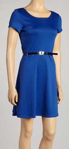 Royal Blue Belted Dress