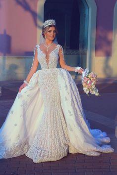 Modest Wedding Dresses A Line .Modest Wedding Dresses A Line Detachable Wedding Dress, Sheer Wedding Dress, Princess Wedding Dresses, Modest Wedding Dresses, Bridal Dresses, Wedding Gowns, Lace Dress, Beautiful Gowns, Ball Gowns