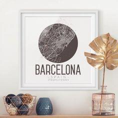 Retro Barcelona Street Map Framed Print East Urban Home Size: H x W, Frame options: Matt white Framed Maps, Framed Prints, Barcelona Street, Map Pictures, Picture Frames, Graphic Art, Art Print, Urban, Retro