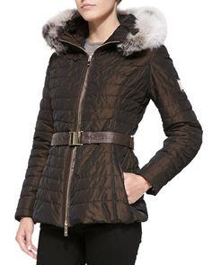 T990L Gorski Apres-Ski Puffer Jacket W/ Iceberg Fur-Trim