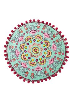 Fluoro Paisley Embroidered Filled Round Cushion, http://www.kandco.com/accessorize-fluoro-paisley-embroidered-filled-round-cushion/1406058411.prd