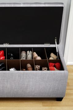 The Sole Secret Blue Upholstered Shoe Storage Bench. Maybe have one inside my closet.
