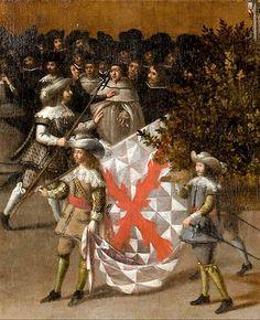 EL ALFEREZ Y LA BANDERA «La bandera que se utilizaba era más pequeña que la de las paradas o formaciones. Normalmente medía dos varas de lado, es decir, 1, 70 cm. Como asta, la sostenía una pica de ocho a nueve pies -2,25 a 2,50m-. La tela era tafetán teñido con el color elegido por el capitán, pero siempre tenía la cruz de San Andrés y, a veces, la divisa del príncipe.