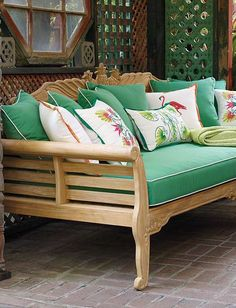 Perfect under a covered porch, or positioned to allow you to soak up the sun, the Teak Pineapple Daybed is a haven to rest upon to relax your troubles away.