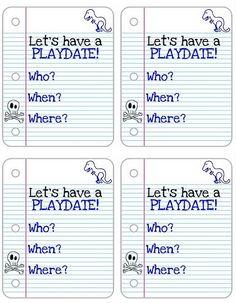 Playdate invites (to send to preschool)