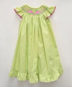 Take a look at this Lime Whales Smocked Angel-Sleeve Dress - Infant, Toddler & Girls on zulily today!