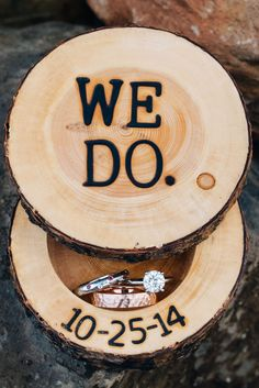 "Wooden ""We Do."" Box with Rings"
