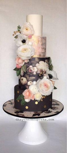Stunning Black and Peach Floral Wedding Cake