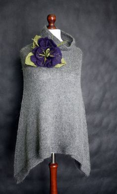 Hey, I found this really awesome Etsy listing at http://www.etsy.com/listing/128308361/gray-poncho-women-poncho-hand-knit