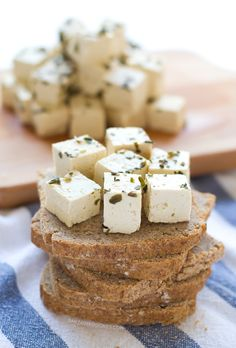 This vegan tofu feta cheese has almost no fat and it's cholesterol-free. I love to use it in salads. It's fresh and very easy to make. Milk Recipes, Raw Food Recipes, Cholesterol Lowering Foods, Cholesterol Symptoms, Cholesterol Levels, Cheese Dishes, Vegan Vegetarian, Vegetarian Recipes, Vegan Food