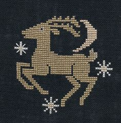 """Garden Grumbles and Cross Stitch Fumbles; Design - """"Reindeer"""" Chart - """"Christmas Past"""" #51 Designer - The Prairie Schooler Fabric - 32 Black Zweigart linen Fibers - DMC - 2 strands over 2 threads"""