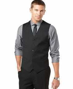 Tommy Hilfiger Vest Black Solid Trim Fit - Men's Vests - Men - Macy's