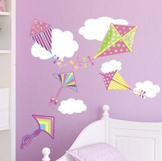 Super Cute Kites for kids rooms ~ http://www.create-a-mural.com/pretty-kites-clouds-wall-decals.html