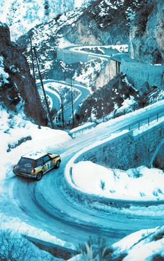 Classic Monte Carlo Rally shot. Mini's ruled the icy switchbacks in the late 1960's and early 1970's.