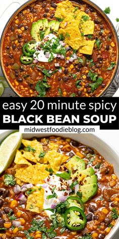 This spicy black bean soup makes the perfect quick and easy weeknight dinner or simple meal prep recipe for a busy week! Loaded with beans, veggies, and rice - this vegan soup is hearty enough to please even the meatiest of carnivores in your life! Spicy Black Bean Soup Recipe, Vegan Black Bean Recipes, Rice And Beans Vegan Recipe, 4 Bean Chili Recipe, Spicy Bean Soup, Vegan Bean Soup, Easy Black Bean Soup, Vegan Soups, Tasty Vegetarian Recipes