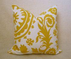 "Suzani Sunshine Yellow Pillow Cover 18"" x 18"" $30"