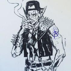 #inktober 3 #drawlloween #inks #art #goblin #drawing #andrewdoma by andrewdoma
