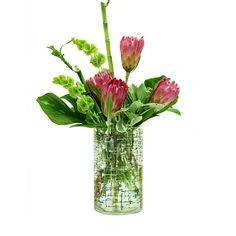 Benaki Museum, Hydrangea Arrangements, Seasonal Flowers, Cut Flowers, Summer Collection, Red Roses, Greenery, Glass Vase, Bamboo