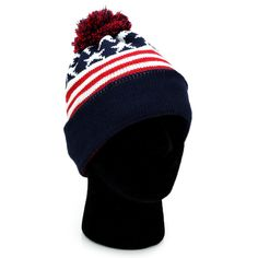 3eeb78d26a4 USA Beanie POM POM Winter Knit Hat Cap American Flag Star Black Red