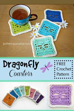 Free crochet attern: Dragonfly Coasters by Pattern Paradise