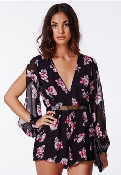 Josine Chiffon Floral Wrap Over Romper - Rompers - Missguided