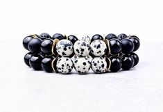 《《 OIL DIFFUSER COLLECTION 》》   ~~THE DETAILS~~  This handmade Aromatherapy Essential Oil Diffuser Bracelet Stack is designed with beautifully patterned Matte Dalmatian Jasper, intermixed with luxuriously smooth  shiny Black Obsidian Gemstones, rich velvety Matte Black Onyx Gemstones, and earthy Gemstone Bracelets, Bracelets For Men, Bracelet Set, Aromatherapy Jewelry, Dalmatian, Oil Diffuser, Stone Beads, Jasper, Just For You