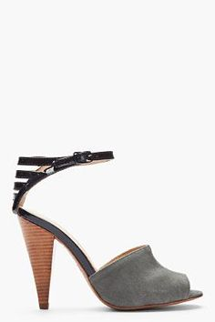 See by Chloé Grey Suede & Patent Leather Caged Sandals for women | SSENSE