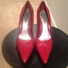 Red Nine West pointy heels Red Nine West pointy heels. Worn only a few times. Nine West Shoes Heels