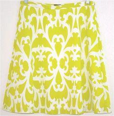 J Crew Womens Skirt Cotton Deco Print Lined White Green 93754 XS Extra Small 0 #JCrew #ALine
