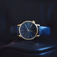 Winston Regal Blue. A perfect watch combination of gold and blue with a high quality Italian leather wristband. Now available at www.komono.com and selected retailers worldwide. #komono #watches