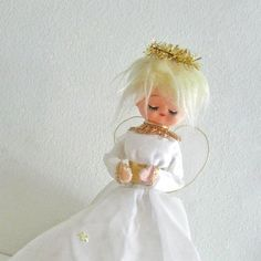 Vintage Christmas Tree Topper Angel Doll by ModandMint on Etsy