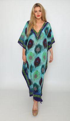 Ladies Maxi Kaftan Silk Beach Cover Up Chic Maxi Dress &