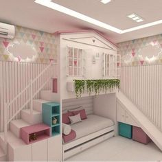 Planning to build a loft bed for kids in the nursery? Get creatively inspired with these delightful kids loft beds ideas in our gallery! Cute Bedroom Ideas, Cute Room Decor, Girl Bedroom Designs, Awesome Bedrooms, Cool Rooms, Nursery Ideas, Bed For Girls Room, Girl Room, Dream Rooms