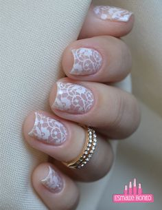 Nails Stamped White Lace # Nails # Stamped # White, 2019 - Beauty Tips & Tricks - - Lace Nail Design, Wedding Nails Design, Nail Art Designs, Lace Wedding Nails, Plum Wedding, Wedding Designs, Manicure And Pedicure, Gel Nails, Cute Nails
