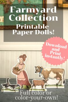 The Farmyard Paper Doll Collection - Cottage Chronicles Foam Crafts, Paper Crafts, Paper Art, Paper Doll House, Paper Houses, Paper Dolls Printable, Book Activities, Pioneer Activities, Fabric Dolls