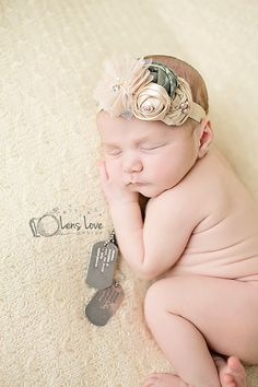 Military inspired headband newborn by FlourishingCreations on Etsy, $13.95