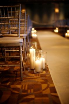 White Pillar Candles Aisle Decor | photography by http://www.katerosephotography.com/