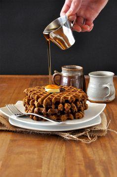 Vegan Gingerbread Waffles  1.25 cup whole wheat pastry flour* ½ Tbsp baking powder ¼ cup + 1 Tbsp brown sugar 1 tsp cinnamon 1 tsp ginger ¼ cup pumpkin puree 1 flax egg (1 Tbsp flaxseed meal + 2.5 Tbsp water) scant 1 cup unsweetened almond milk 2 Tbsp molasses 1 Tbsp COCONUT oil